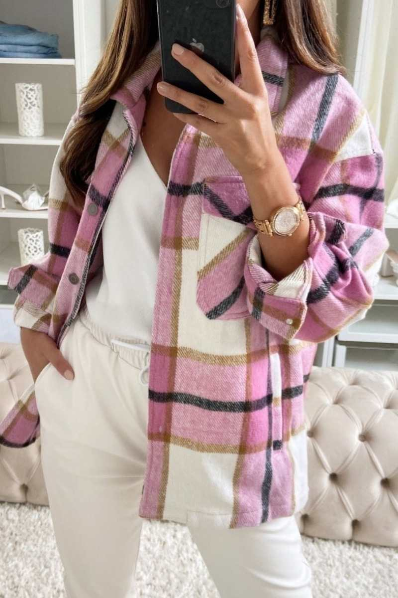 Oversized Checked Shacket - Pink
