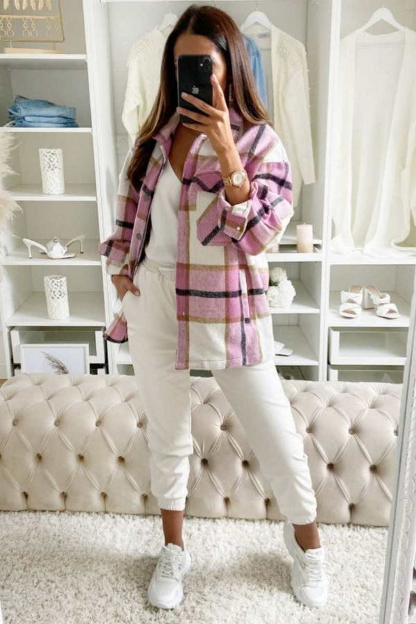 Oversized Checked Shacket - Pink - 3