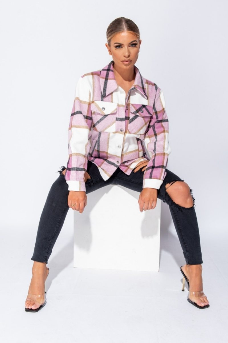 Oversized Checked Shacket - Pink - 2