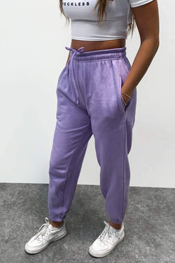 Oversized Fleeced Joggers - Lilac