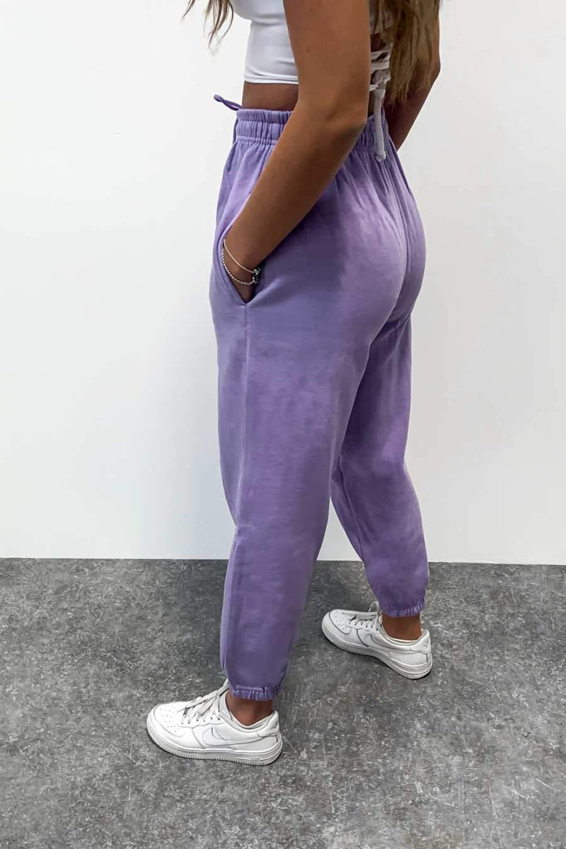 Oversized Fleeced Joggers - Lilac - 2