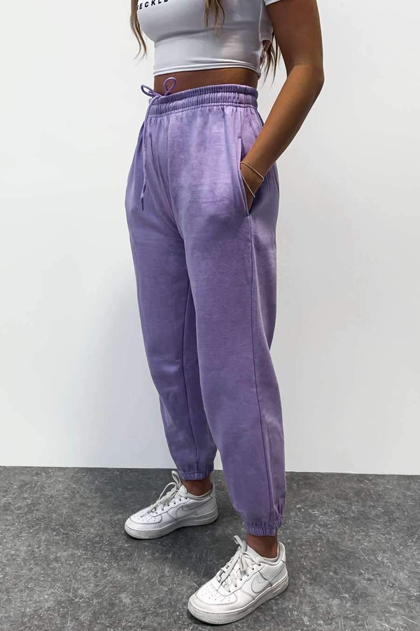 Oversized Fleeced Joggers - Lilac - 1