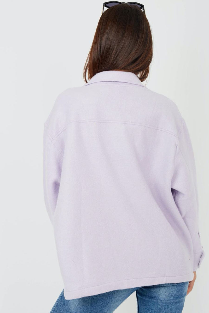 Oversized Utility Shacket - Lilac - 2