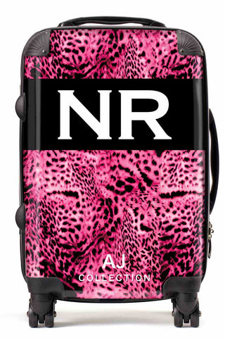 Personalised Initial Suitcase - Pink Leopard Print - Small Cabin Luggage
