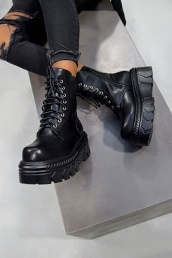 POWER Chunky Lace Up Platform Ankle Boots - Black