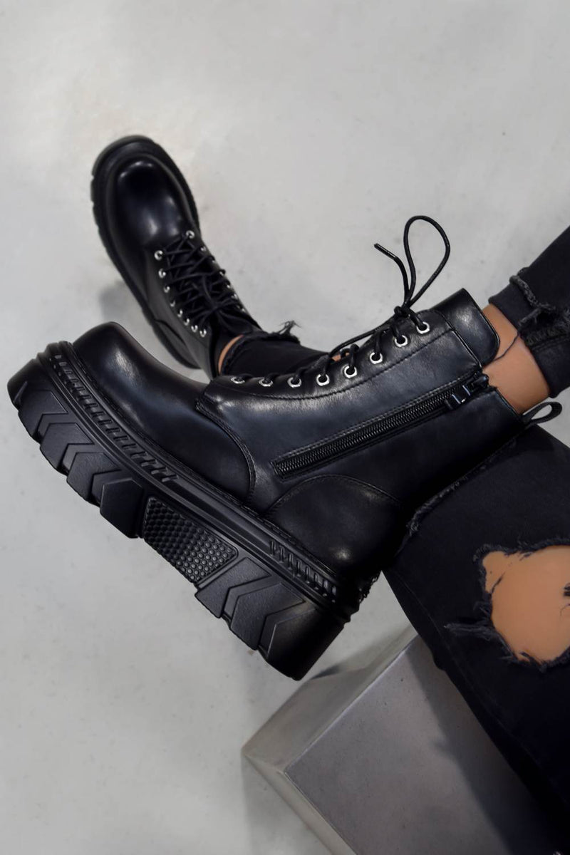 POWER Chunky Lace Up Platform Ankle Boots - Black - 3
