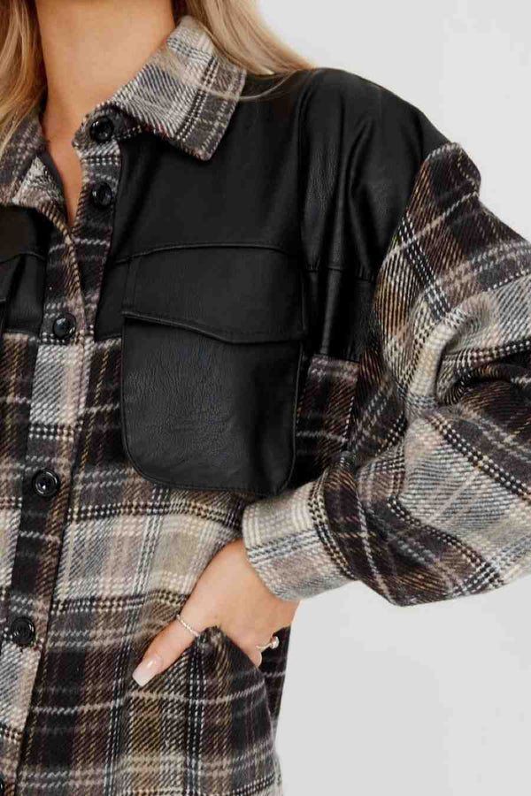PU Detail Oversized Thick Checked Shacket - 2