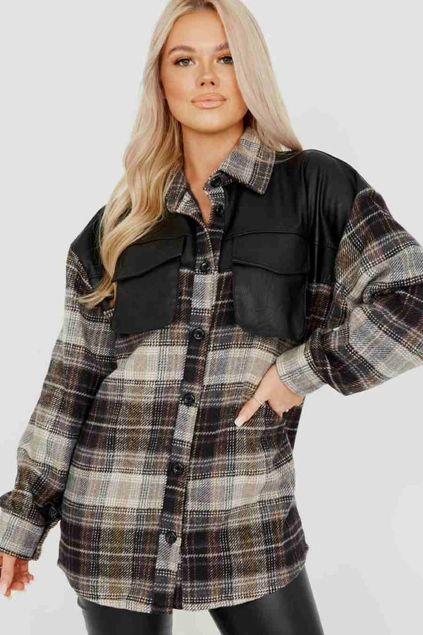 PU Detail Oversized Thick Checked Shacket -1