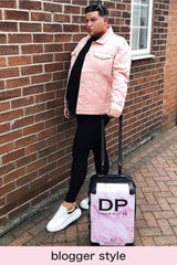 Personalised Initial Pink Marble Suitcase - Small Cabin Luggage - 4