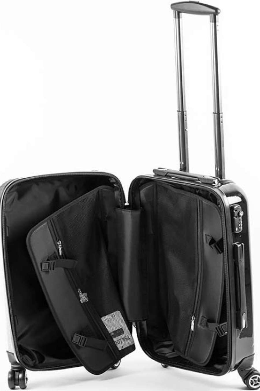 Personalised Initial Black Suitcase - Small Cabin Luggage - 1