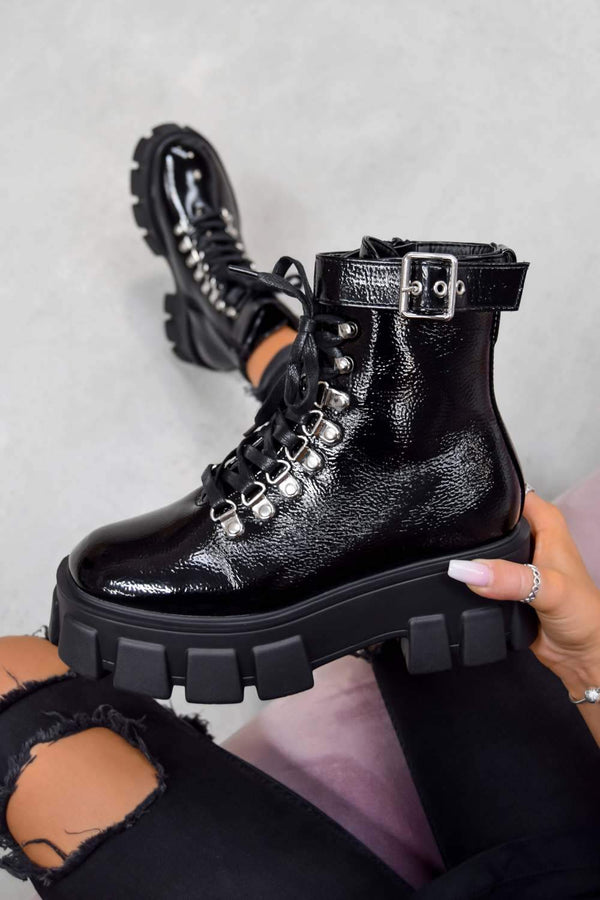 REASON Super Chunky Buckle Ankle Boots - Black PU