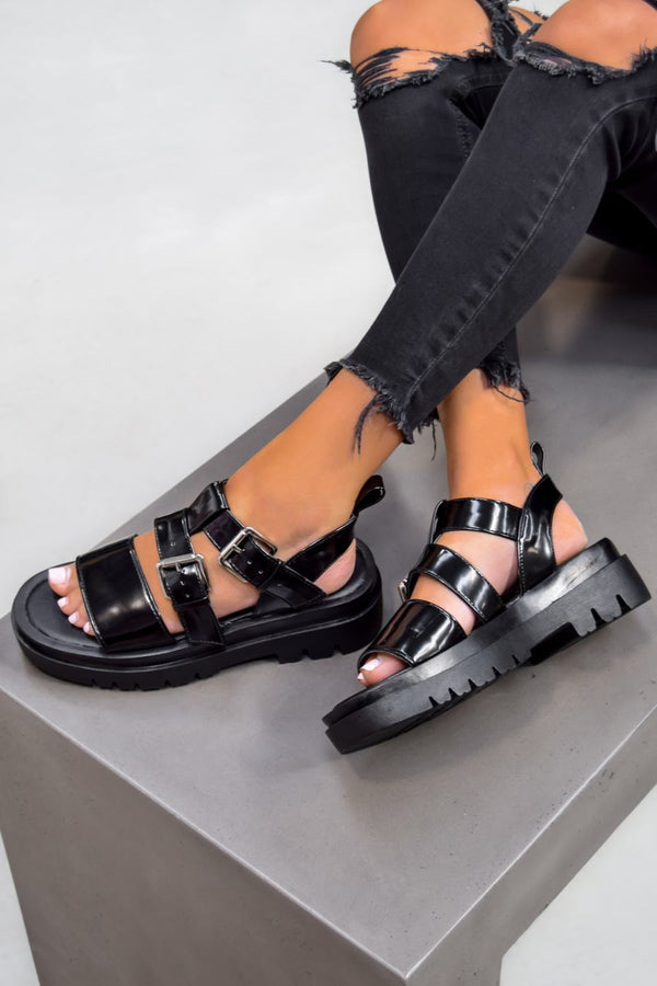 RECALL Chunky Buckle Platform Sandals - Black PU - 1