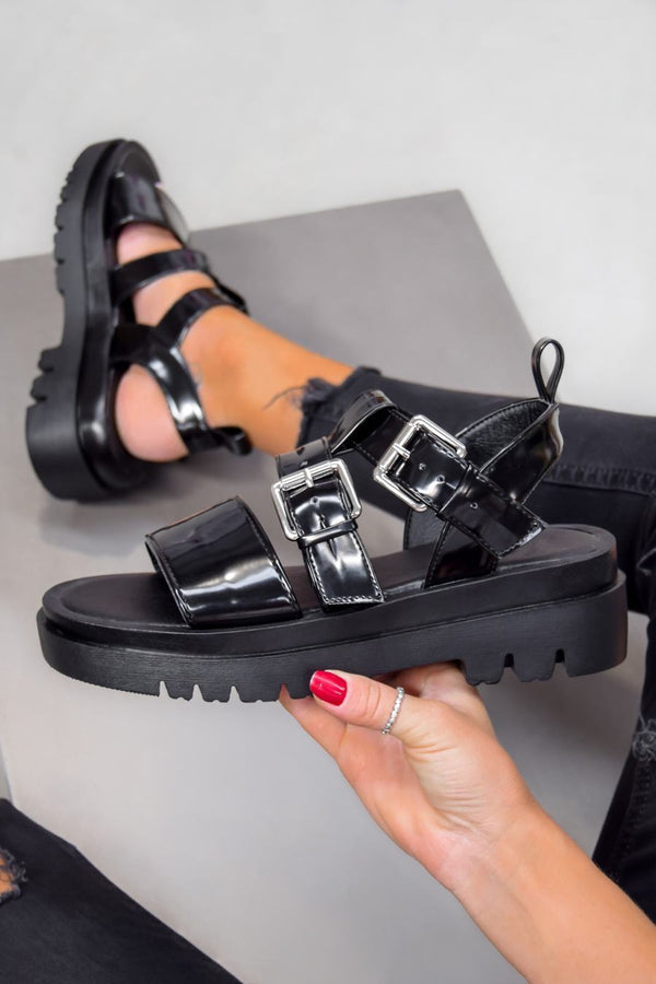 RECALL Chunky Buckle Platform Sandals - Black PU