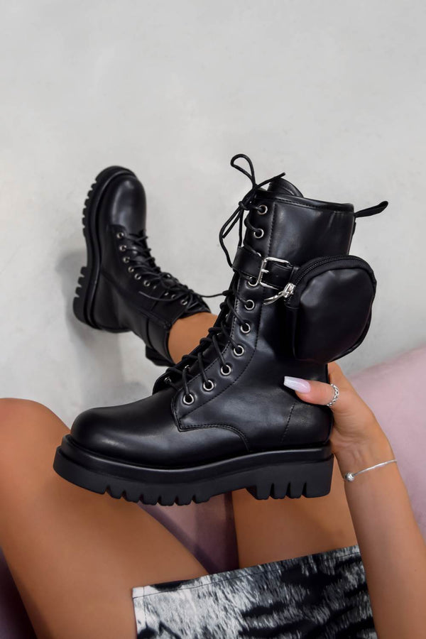 REGAIN Lace Up Pocket Mid Length Boots - Black PU