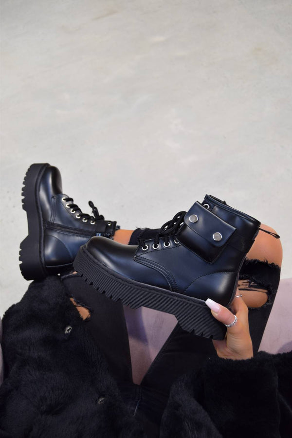 REGAIN Chunky Platform Pocket Detail Ankle Boots - Black PU - 1