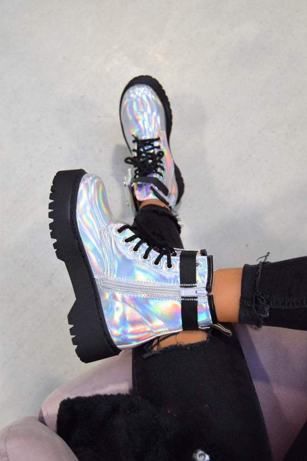 REGAIN Chunky Platform Pocket Detail Ankle Boots - Holographic Silver - 1