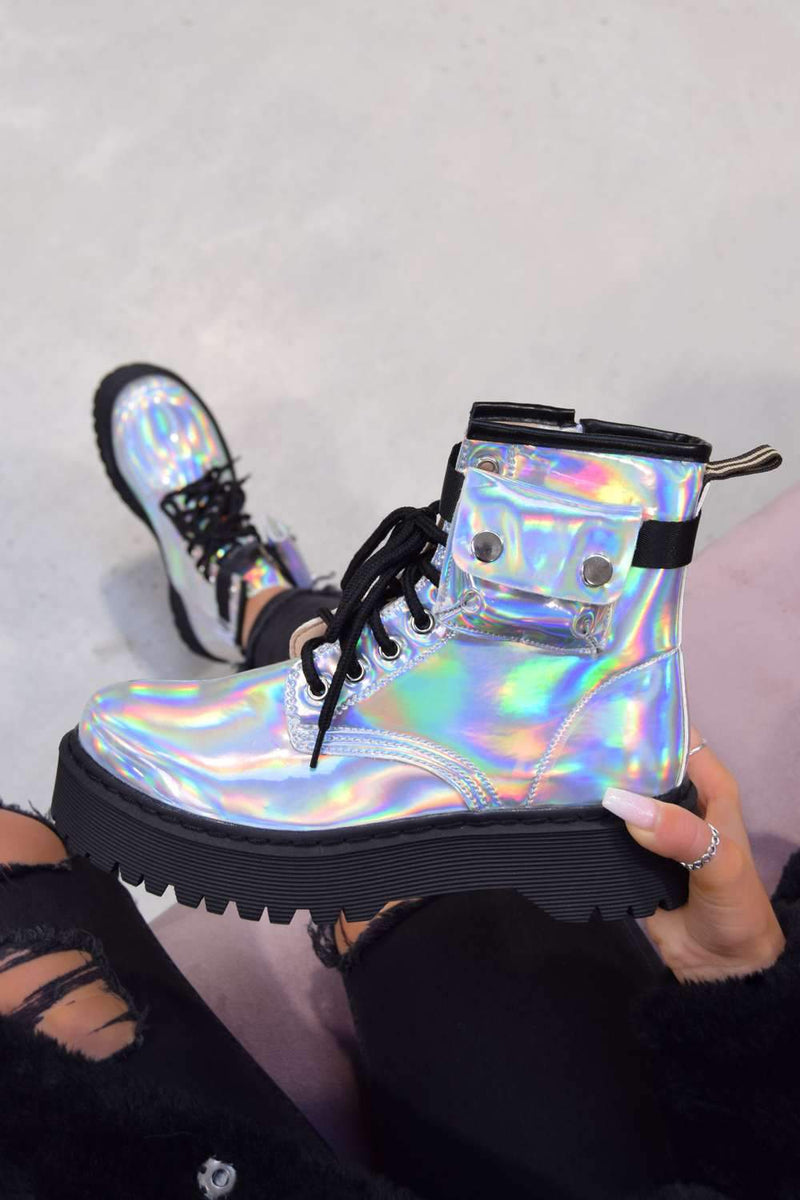 REGAIN Chunky Platform Pocket Detail Ankle Boots - Holographic Silver