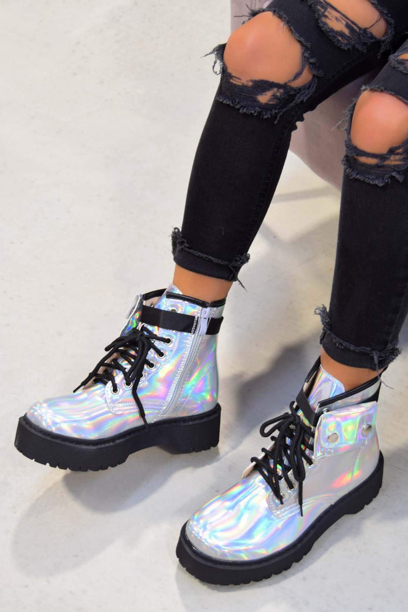 REGAIN Chunky Platform Pocket Detail Ankle Boots - Holographic Silver - 2