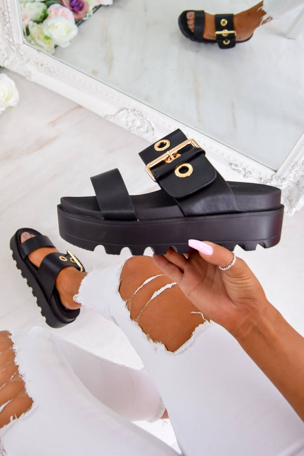REMI Chunky Flatform Cleated Sole Buckle Sandals - Black - 1