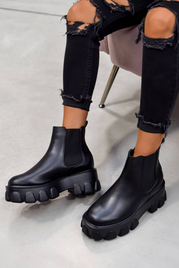 REPEAT Chunky Sole Chelsea Boots - Black Pu - 1