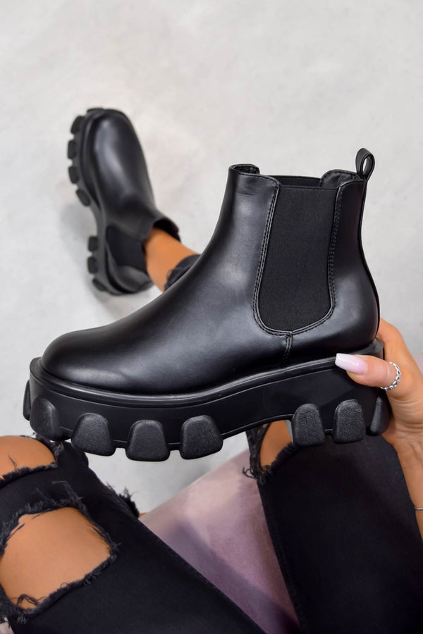 REPEAT Chunky Sole Chelsea Boots - Black Pu