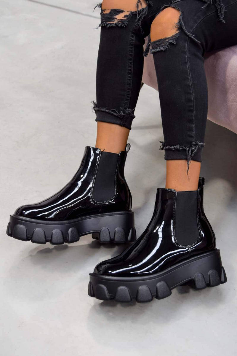 REPEAT Chunky Sole Chelsea Boots - Black Patent - 2