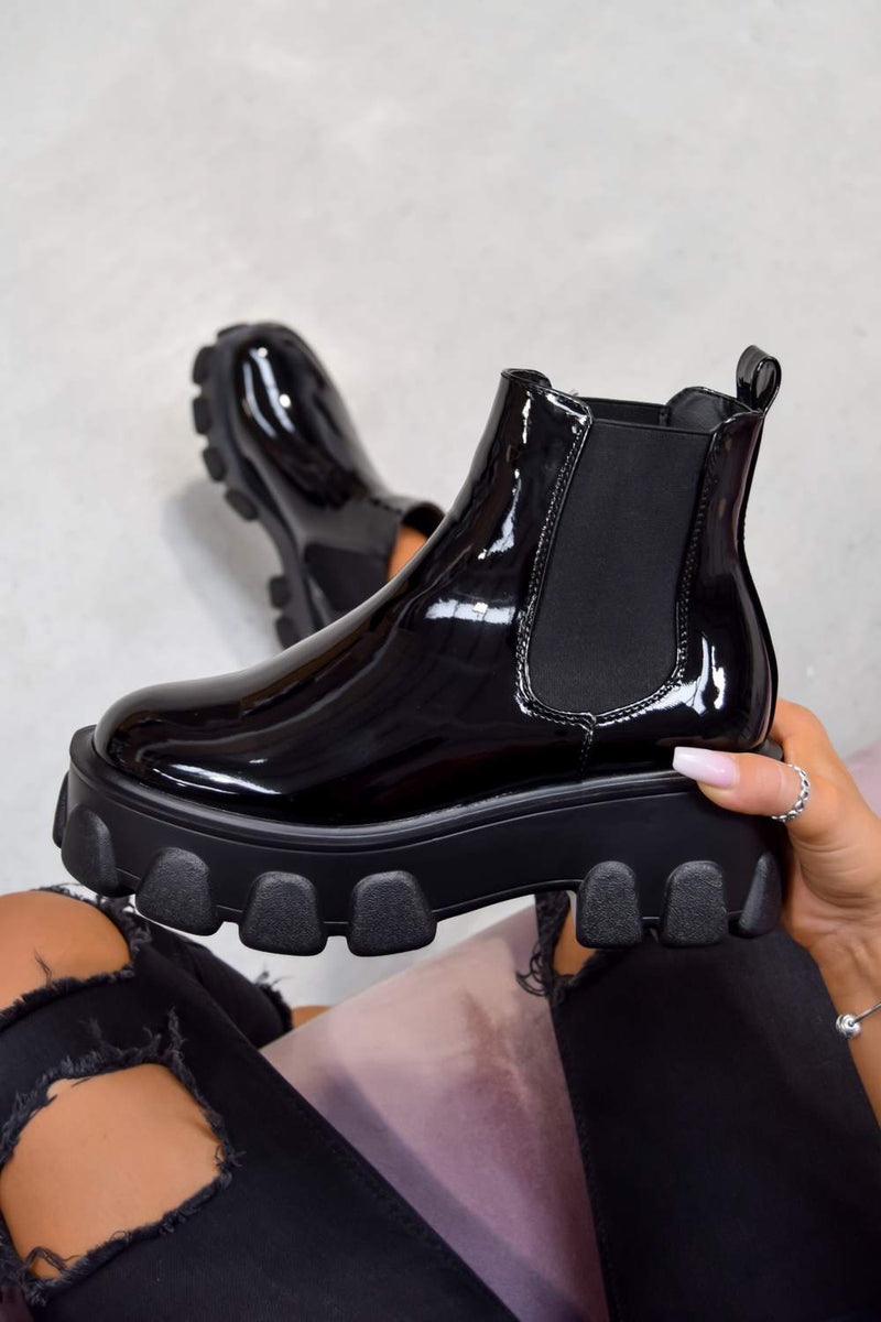 REPEAT Chunky Sole Chelsea Boots - Black Patent