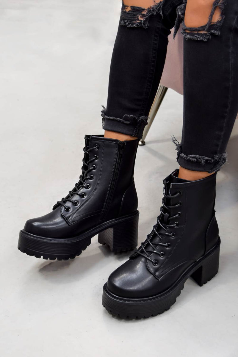 RESPONSE Chunky Platform Ankle Boots - Black PU - 2