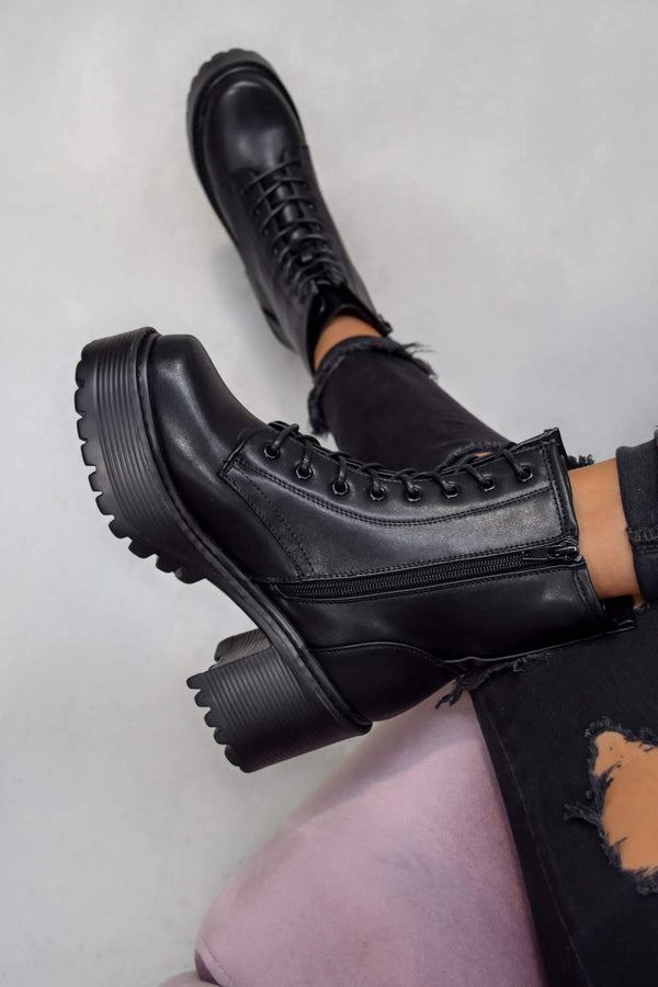 RESPONSE Chunky Platform Ankle Boots - Black PU - 1