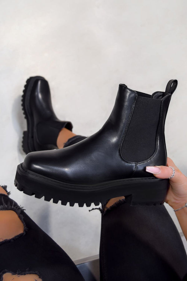 REYNA Chunky Platform Chelsea Ankle Boots - Black PU