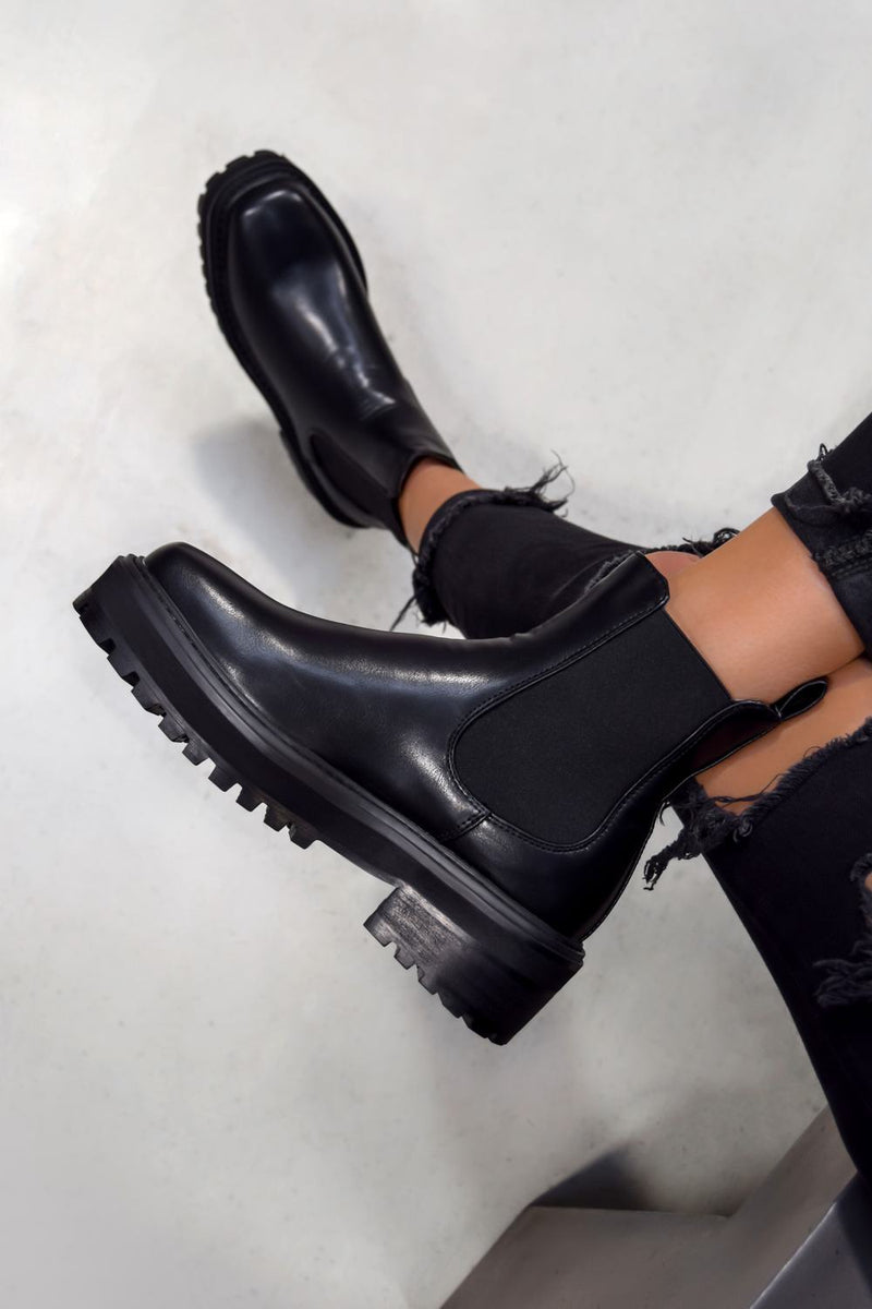 REYNA Chunky Platform Chelsea Ankle Boots - Black PU - 1