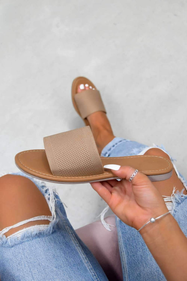 ROCHELLE Textured Strap Sliders - Taupe