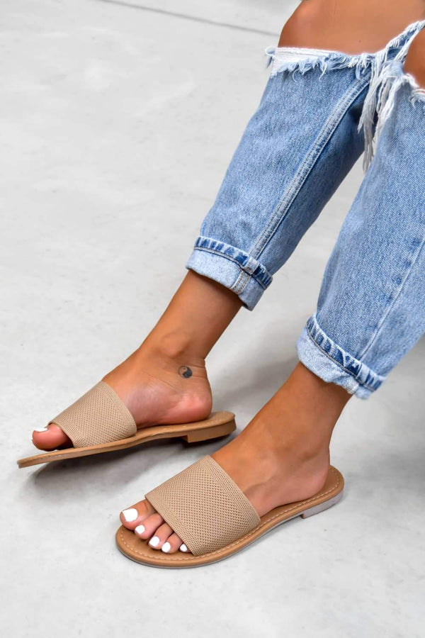 ROCHELLE Textured Strap Sliders - Taupe - 1