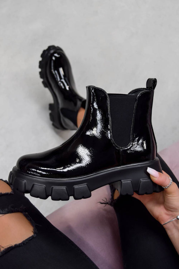 ROMI Chunky Chelsea Boots - Black Patent