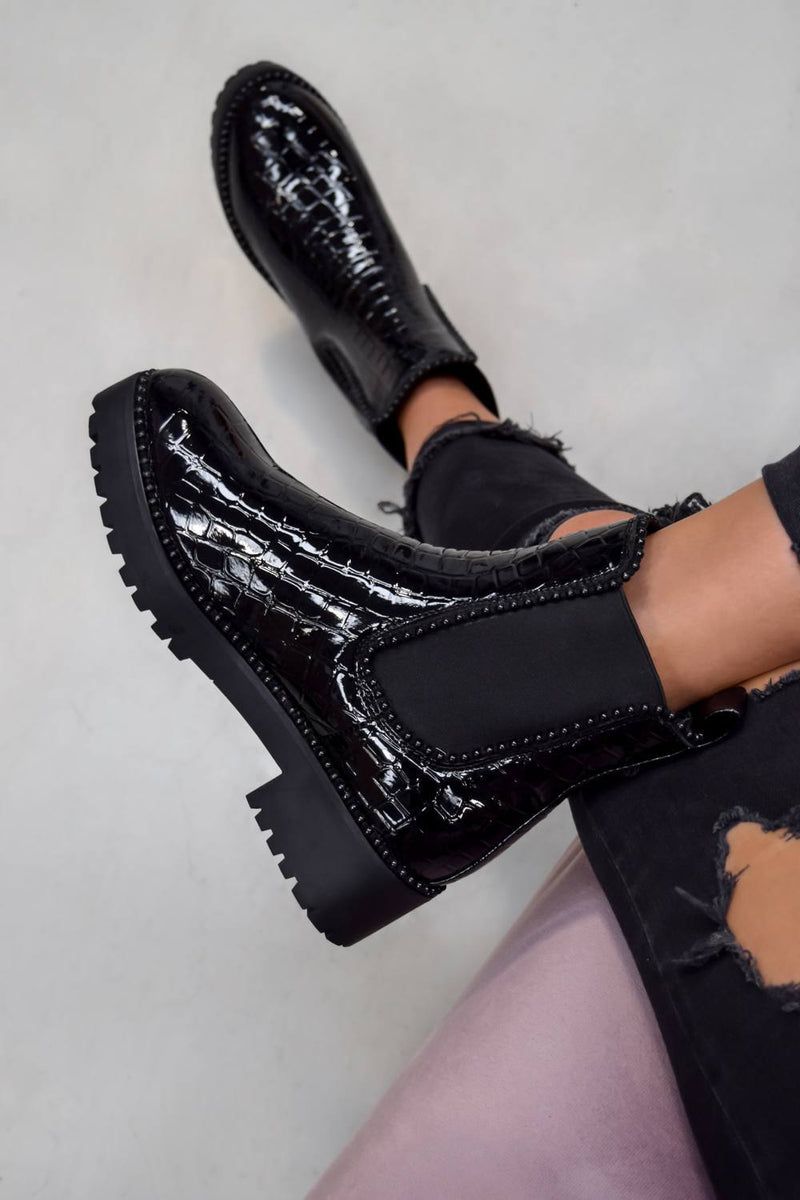 ROSA Chelsea Studded Ankle Boots - Black Croc - 1