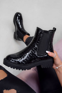 ROSA Chelsea Studded Ankle Boots - Black Croc