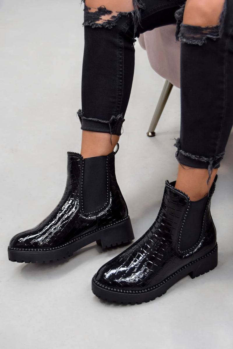 ROSA Chelsea Studded Ankle Boots - Black Croc - 2