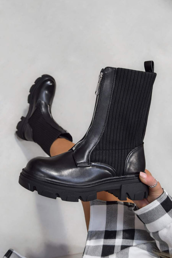 ROTA Zip Front Ankle Boots - Black - 1