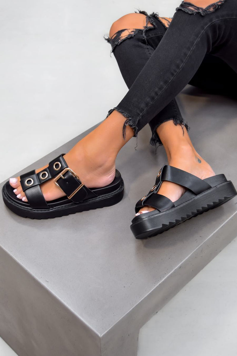 ROZITA Chunky Flatform Cleated Sole Buckle Sandals - Black - 1