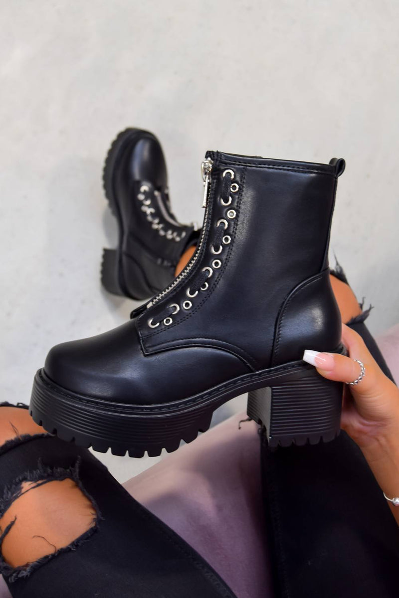 RUCTION Chunky Platform Zip Front Ankle Boots - Black PU