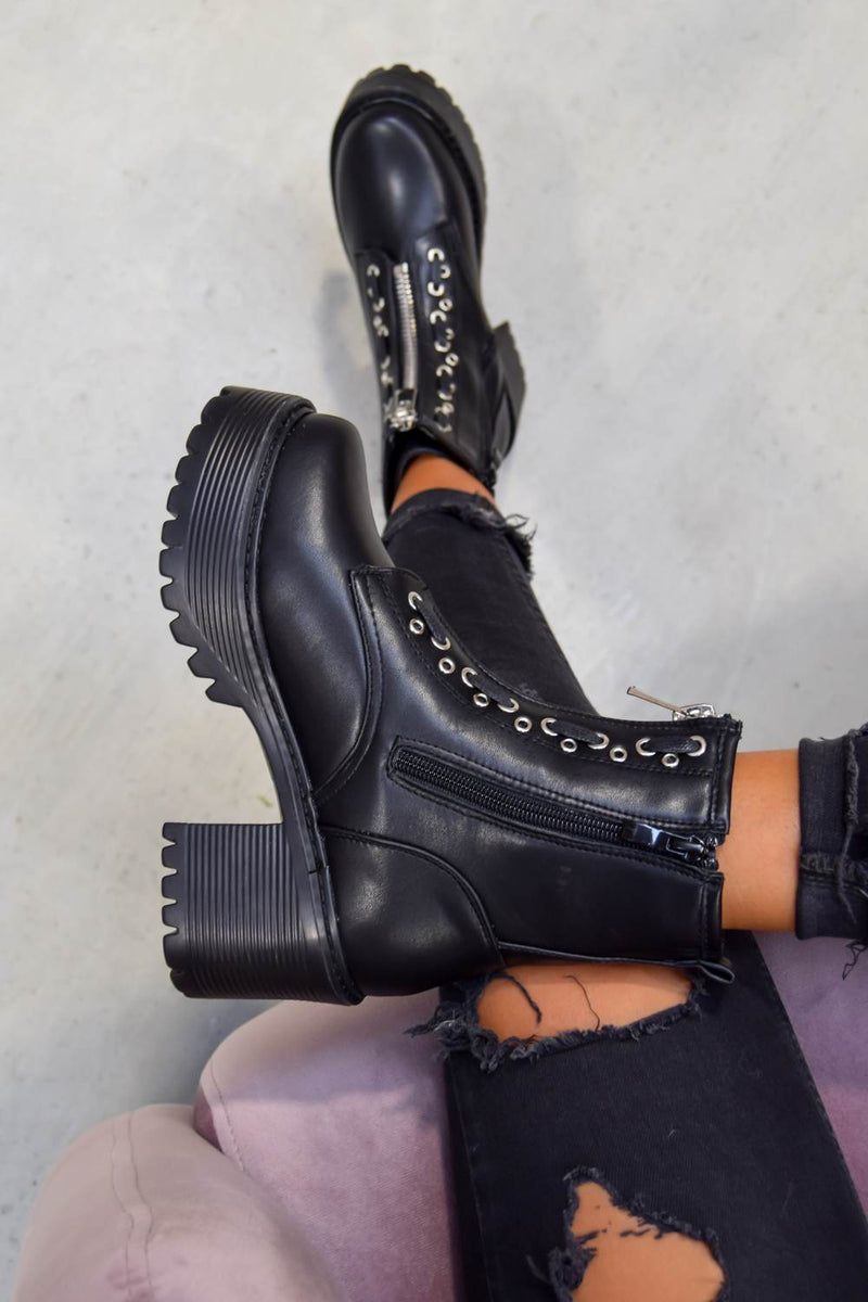 RUCTION Chunky Platform Zip Front Ankle Boots - Black PU - 2