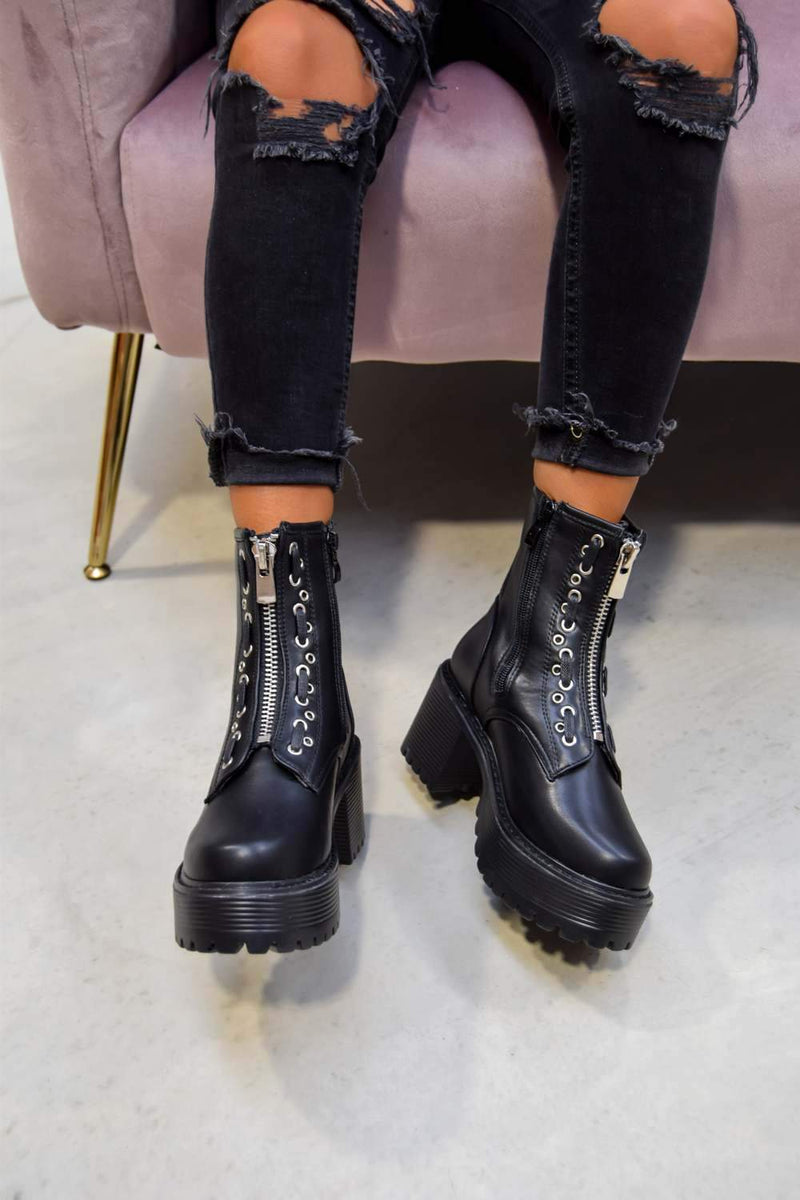 RUCTION Chunky Platform Zip Front Ankle