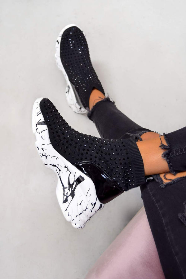 RUN IT Diamanté Detail Sock Fit Trainers - Black/Marble - 1