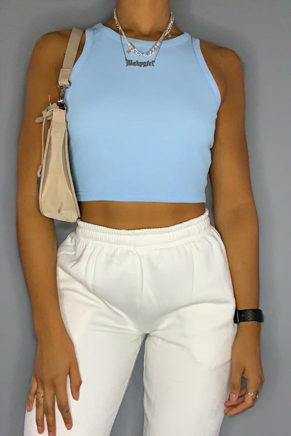 Ribbed Sleeveless Crop Top - Blue - 1