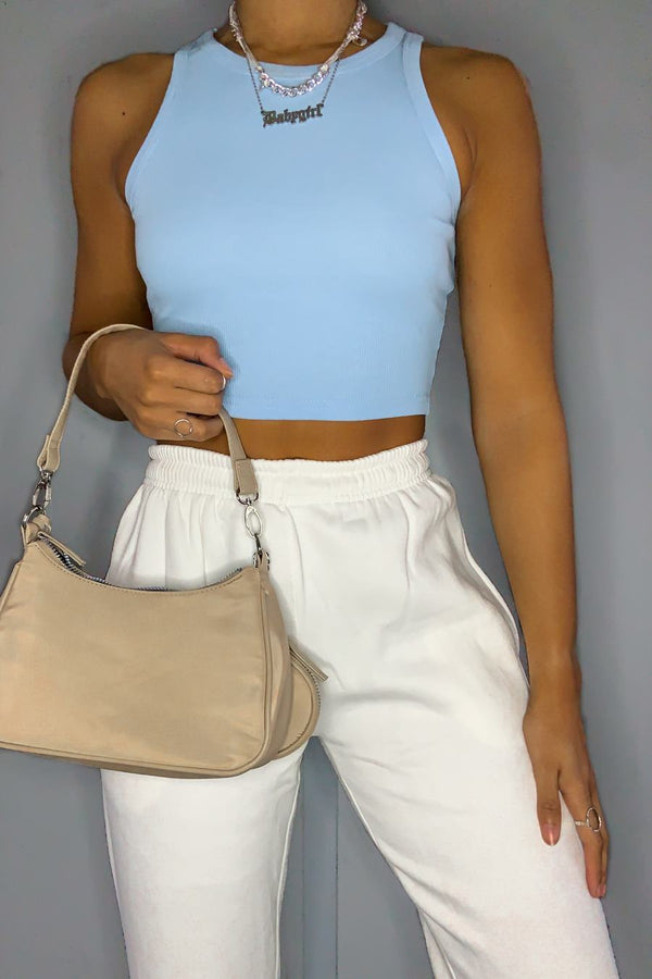 Ribbed Sleeveless Crop Top - Blue