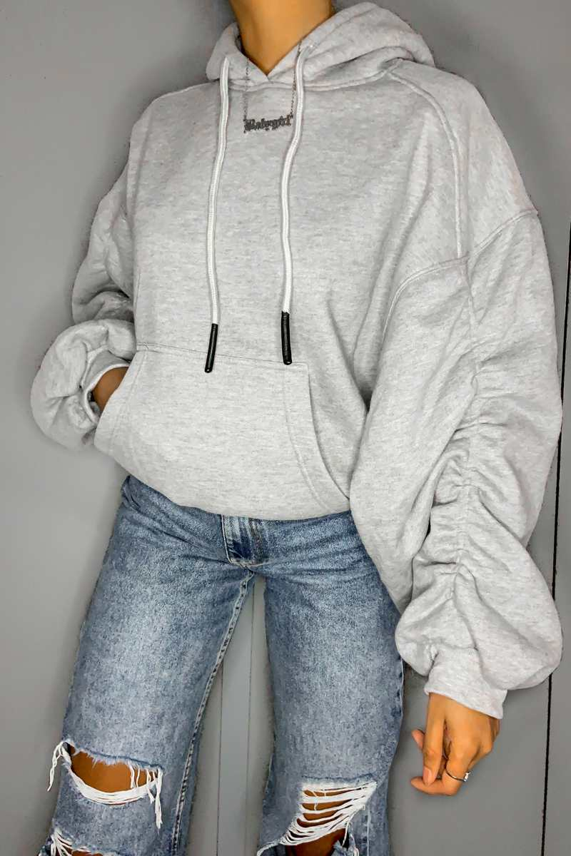 Ruched Balloon Sleeve Hoodie - Grey - 1