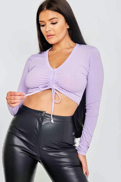 Ruched Ribbed Crop Top - Lilac
