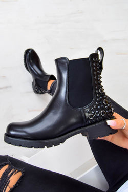 SAID SO Studded Chelsea Ankle Boot - Black PU