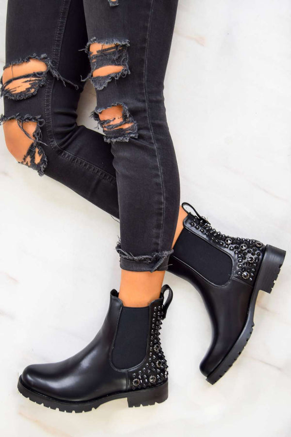 SAID SO Studded Chelsea Ankle Boot - Black PU - 1