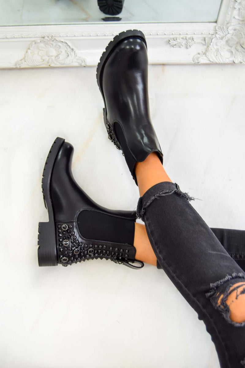 SAID SO Studded Chelsea Ankle Boot - Black PU - 2